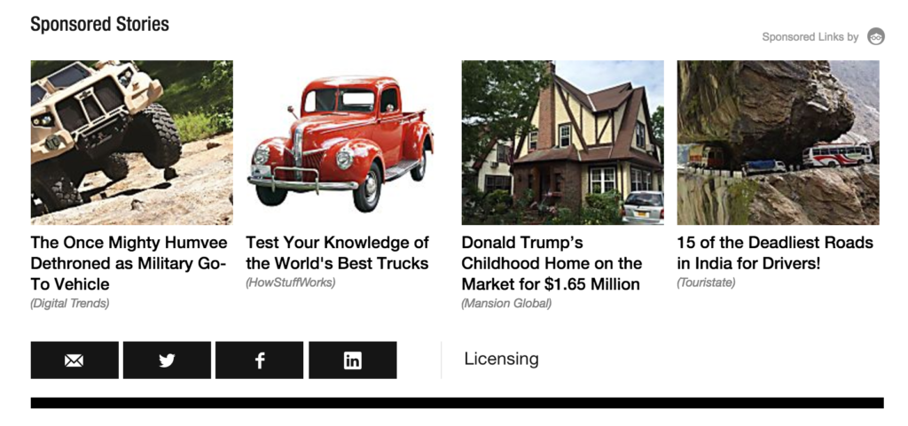 Sponsored content widget from Outbrain