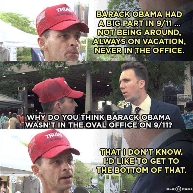 Frame grab of an interview with a guy who doesn't seem to realize that Obama wasn't president on 9/11 / Comedy Central