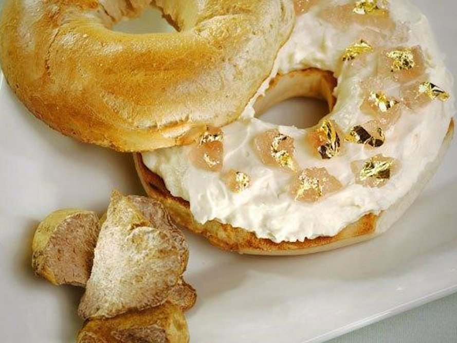 Gold-flaked bagel? Seriously?