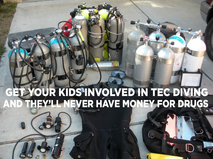 big pile of dive gear
